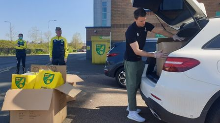 Norwich Citry defender Christoph Zimmermann delivering activity packs for the Community Sports Found