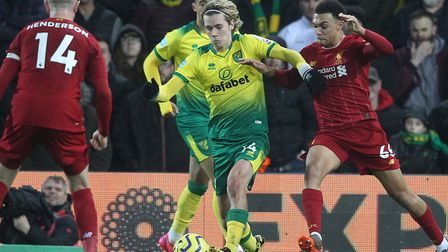 England defender Trent Alexander-Arnold tracks Norwich ace Todd Cantwell during Liverpool's 1-0 win