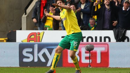 Timm Klose celebrates after scoring a later equaliser against Ipswich Picture: Paul Chesterton/Focus