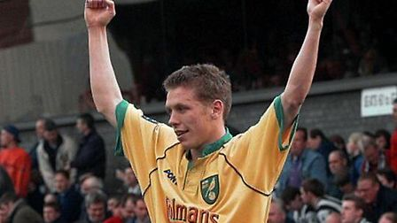 Craig Bellamy celebrates a 1-0 win at Grimsby in April 1999 during his Norwich City days Picture: Ar