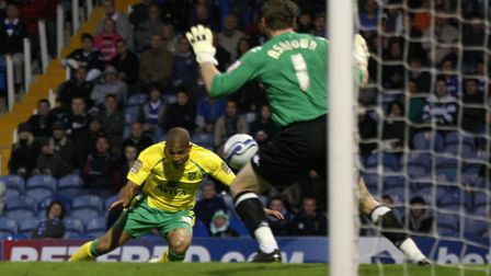 Simeon Jackson heads in the goal at Portsmouth that sealed City's place in the Premier League Pictur
