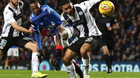 Norwich City loanee Akin Famewo, front, in action for St Mirren during a 1-0 Scottish Premiership de