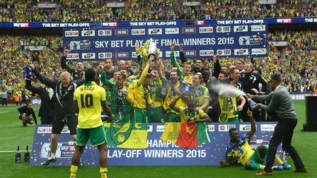 Going up! Norwich players celebrate in style Picture: Paul Chesterton/Focus Images Ltd