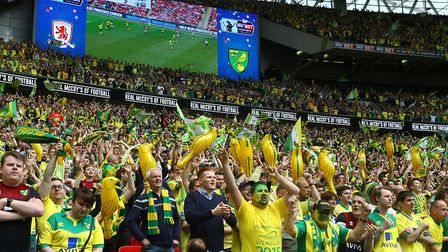 Norwich fans start to celebrate victory near the end of the game Picture: Paul Chesterton/Focus Imag