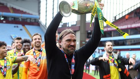 The Championship trophy is lifted by Daniel Farke at Villa Park in May 2019 Picture: Paul Chesterton
