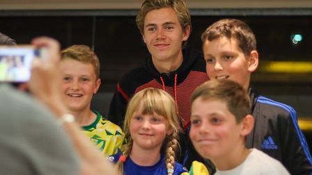Norwich City star Todd Cantwell with supporters at the annual Players Forum event organised by the N