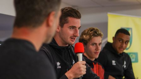 Norwich City players, from left, Kenny McLean, Todd Cantwell and Adam Idah spoke to Canaries legend