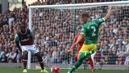 Steven Whittaker attempts a shot at goal during Citys 2-2 draw at West Ham in the top flight during