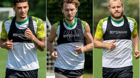 Norwich City players including, from left, Ben Godfrey, Tom Trybull and Teemu Pukki resumed training