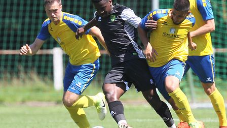 Diallang Jaiyesimi in pre-season action for Norwich City U23s in Germany in 2017, during a friendly
