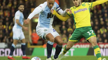 Elliott Bennett, left, in action for Blackburn at Carrow Road last season, during a 2-1 loss to Norw