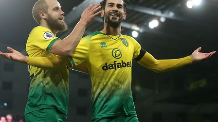 Mario Vrancic celebrates scoring Norwich City's opener during a 2-2 home draw with Tottenham in the