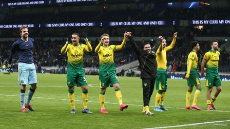 Norwich City players victory at Tottenham which earned them a quarter-final against Manchester Unite