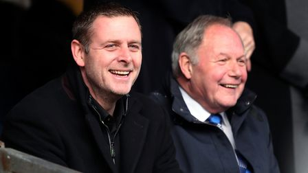 Peterborough United chairman Darragh MacAnthony, left Picture: PA