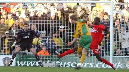 Action from the Barclays premiership match between Norwich City and Liverpool 2005.Ryan Jarvis score
