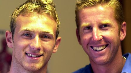 Norwich city players Ryan Jarvis, left, and Iwan Roberts. (Iwan is twice Ryan's age).Picture: Bill S