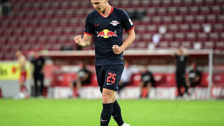 The new goal celebration - RB Leipzig's Dani Olmo after scoring during the Bundesliga game against C