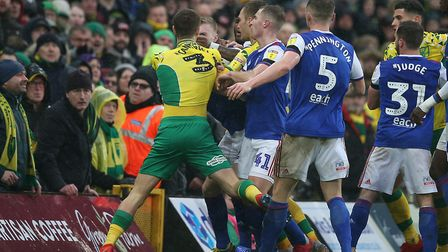 Tempers flare at the last East Anglian derby Picture: Paul Chesterton/Focus Images Ltd