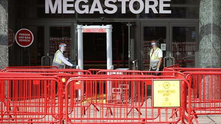 Distancing measures in place at the Manchester United Club Shop - a huge money-spinner for one of th