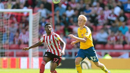 Bali Mumba, left, in League One action for Sunderland against Charlton Athletic Picture: Graham Stua