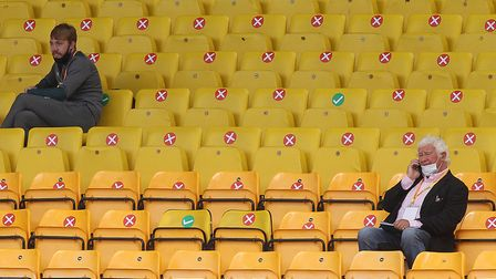 Media and officials from each club had to sit in socially distanced designated seats at Carrow Road