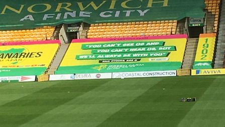 The seat coverings on display at Carrow Road. Picture: Paddy Davitt