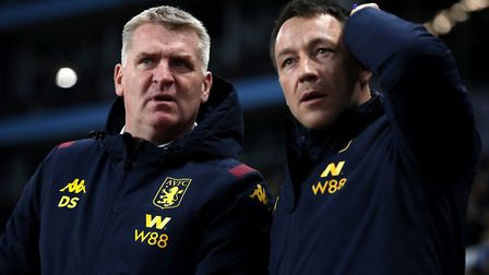 Can Dean Smith, left, and coach John Terry keep Aston Villa in the Premier League? Picture: PA