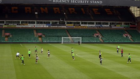 City players getting used to the surroundings of Carrow Road again Picture Norwich City FC