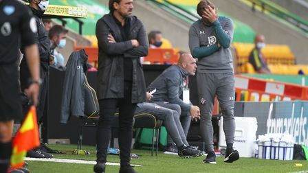City head coach Daniel Farke watches his side slide to defeat Picture: Paul Chesterton/Focus Images