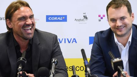 Daniel Farke and Stuart Webber have transformed Norwich City's fortunes in three years. Picture: Den
