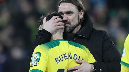 City boss Daniel Farke has attempted to keep Buendia grounded with constructive criticism. Picture: