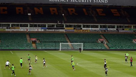 Norwich City's players have trained at Carrow Road to prepare for matches behind closed doors Pictur