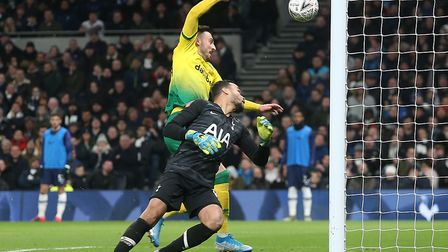 Josip Drmic scored the equaliser for the Canaries at Tottenham in the FA Cup Picture: Paul Chesterto