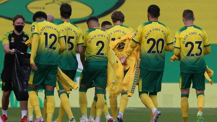 The Norwich players wore shirts with #BlackLives Matter on the back during their Premier League defe