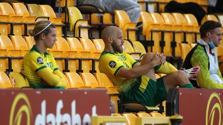 Todd Cantwell and Teemu Pukki look dejected after being taken off during the dismal home defeat by S
