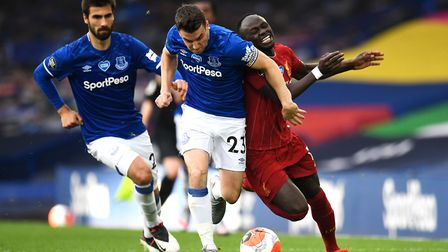 Everton's Seamus Coleman up against Liverpool's Sadio Mane in the Merseyside derby on Sunday Picture