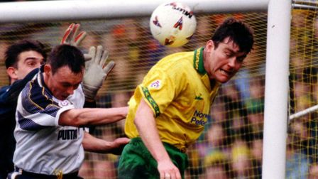 Rob Newman challenges for a header during his Norwich City playing days Picture: Archant library