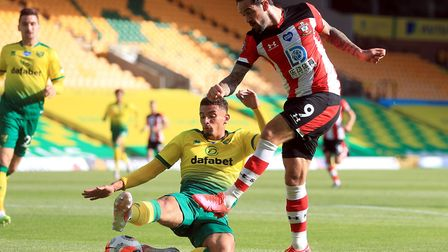 Ben Godfrey desperately tries to block a Danny Ings shot during Norwich City's home defeat to Southa
