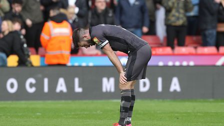 Disappointment for Grant Hanley at the end of City's last game, at Sheffield United Picture: Paul Ch