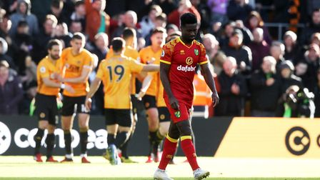 Alex Tettey is dejected as the Wolves players celebrate their third goal at Molineux Picture: Paul C
