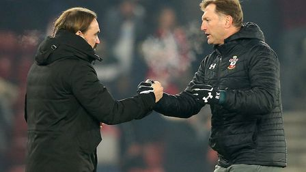 Southampton manager Ralph Hasenhuttl, right, and Norwich head coach Daniel Farke at the end of the S
