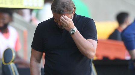 Daniel Farke couldn't hide his frustration during City's defeat to Everton. Picture: Paul Chesterton