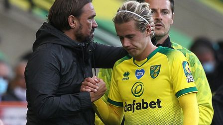 Daniel Farke congratulated Todd Cantwell on his FA Cup efforts against Manchester United as he came