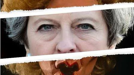 A satirical Margaret Thatcher Spitting Image puppet and Theresa May