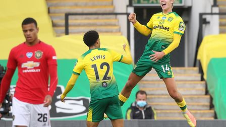 Todd Cantwell was jumping for joy after equalising for Norwich City against Manchester United Pictur