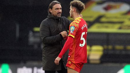 City boss Daniel Farke consoles young sub Josh Martin at the end of the match Picture: Paul Chestert