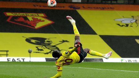 Watford's Danny Welbeck scores his side's second goal of the game with an overhead kick during the P