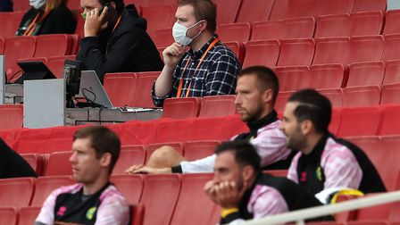 David Freezer in the press box at Emirates Stadium behind the Norwich City substitutes Picture: Jaso
