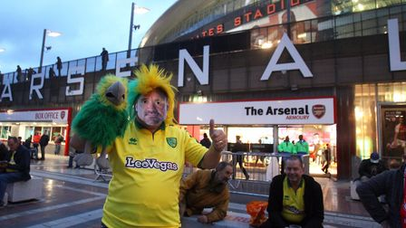 Canaries fans wore Daniel Farke masks at Arsenal in October 2017 Picture: Paul Chesterton/Focus Imag
