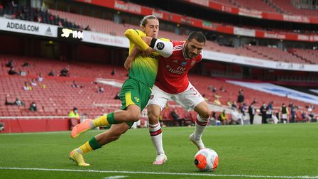 Todd Cantwell, scorer of a fine FA Cup goal, up against Arsenal's Sead Kolasinac at the Emirates Pic